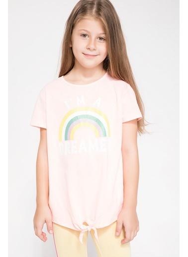 DeFacto Bağlama Detaylı Baskılı T-shirt Pembe